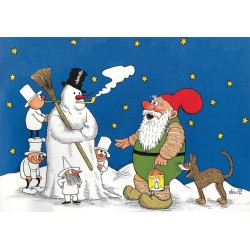 Julekort De 3 små Mænd og julenissen (A5)