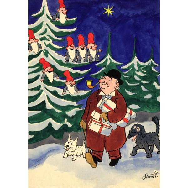 Julekort med Storm P. og hunde (A5)